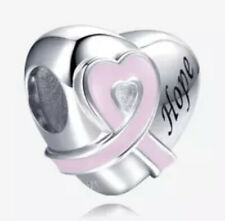 New 925 Sterling Silver Pink Ribbon Heart Hope Breast Cancer Awareness Charm 💓