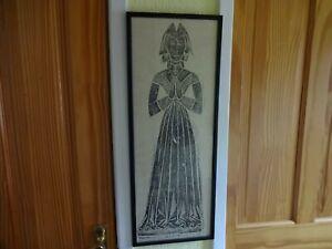 VINTAGE FRAMED BRASS RUBBING PRINT MEDIEVAL GOTHIC HEIGHT 70 cm x 27 cm
