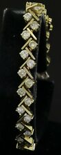 Heavy 14K gold amazing elegant 8.75CT VS diamond tennis bracelet