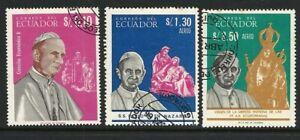 Ecuador 1966 - Pope Paul VI - Complete Set 3 including Airs CTO