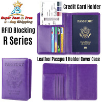 RFID Blocking Leather Travel Wallet Passport Cards Holder Cover Case Purple New