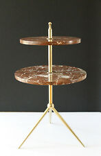 Early 20th Century Marble &Solid Brass tiered Drinks Table Design ala Gio Ponti