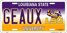 University of LSU Louisiana State Tigers GEAUX Metal Car License Plate Sign