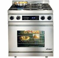 "NIB Dacor 30"" 4 Sealed Burners Convection Pro-Style Dual-Fuel Range DR30DNG"