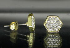 Mens Iced Earrings 8mm Hexagon Studs Push Back 14k Gold Plated Hip Hop Jewelry