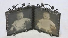 Antique 19th Century Photo in Custom Pewter Frame w/ Beveled Glass - Baby