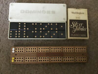 Vintage Cribbage Wooden Score Board  - Inlaid Wood Design, Dominos & Cards ,used