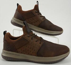 Skechers Men's US 9 Classic Fit Brown Leather AirCooled Memory Foam Sneakers