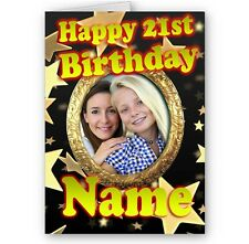 Personalised Photo & Name, Any Age, 18th, 21st, Black & Gold A5 Birthday Card