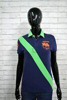 Polo RALPH LAUREN Donna Taglia M Shirt Manica Corta Maglia Blu Cotone T-Shirt