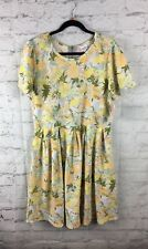 LuLaRoe, NEW With Tags; Amelia Dress, 3XL; Yellow Peach Green Floral Print
