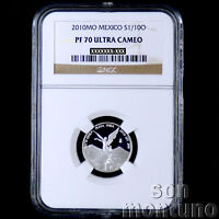 NGC PF 70 ULTRA CAMEO - 2010 Mexico 1/10 TENTH OZ SILVER LIBERTAD PROOF COIN