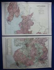 Original antique map x 2, NORTH & SOUTH LANCASHIRE, RAILWAYS, G.W. Bacon, 1896