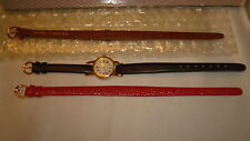 AVON WATCH WARDROBE  NIB SET INCLUDES 3 WRISTBANDS RED-BLACK-BROWN (1991)