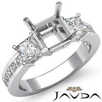 3 Stone Diamond Wedding Ring 14k White Gold Princess Asscher Semi Mount 1.1Ct