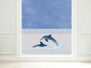 Sichschutzfolie Fensterfolie farbig für Badezimmer Delfine Meer Badfenster Bad