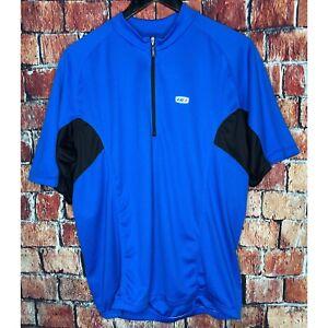 Louis Garneau LG Men's 1/4 Zip Blue XL Short Sleeve Bike Cycling Jersey Active