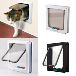Dog Cat Pet 4 Way Locking Large Cat Small Dog Flap White Catflap Pet Door UK