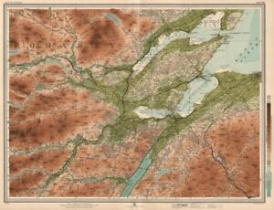 MORAY FIRTH Dingwall Invernessshire Cromarty Firth Nairn Glen Ord LARGE 1912 map