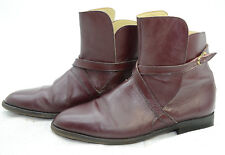 Dark Wine Beatle Mens Sz 10 Belted Leather Riding Casual Ankle Boots