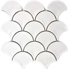 MOSAIC tile ceramic fan white glossy kitchen wall bath pool 13-FS01_f | 10 sheet