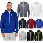 Mens Zip Up Hoodies American Plain Zipper Fleece Sweatshirts Jumper Top S - 5XL