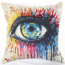 Cotton Linen Big Blue Eye Cushion Cover Pillow Case Home Decoration UK Stock