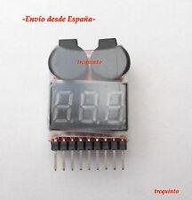 Comprobador de carga baterias Lipo/Life 1 a 8S, ajuste de tensión, alarma sonora
