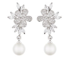 Clip On Earrings - silver drop with a pearl & cubic zirconia stones  - Nalo S
