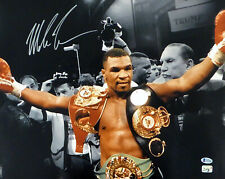 MIKE TYSON AUTOGRAPHED SIGNED 16X20 PHOTO WITH BELTS SPOTLIGHT BECKETT 180902