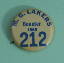 1968 M.G. Lakers Wisconsin Fishing Club Booster Membership Button...Free Ship!