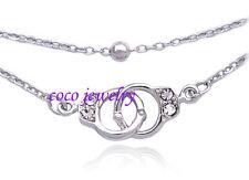 Handcuffs Charm Bracelet Bead Link Double Chain Fashion Jewelry Girl Friend Gift