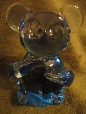 Blue Art Glass Teddy Bear Mouse Paperweight Vintage