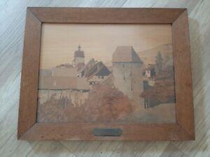 Charles Spindler 1865-1938 Strasbourg Grand Tableau Marqueterie Alsace Pont