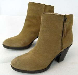 Enzo Angiolini Elysian Womens Ankle Boots Booties Tan Suede Zipper Nubuck 9 M