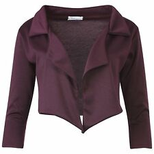 Womens Waterfall Cropped Open Short Blazer Cropped Jacket Black Ladies Blazer