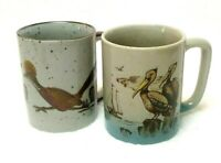 Handcrafted Etched Ceramic Bird Coffee Mugs Set of 2 Road Runner Pelican 8 Ounce
