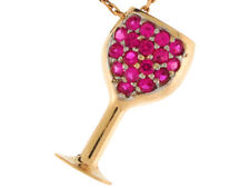 14k Yellow Gold Round Cut Simulated Ruby Festive Wine Glass Pendant