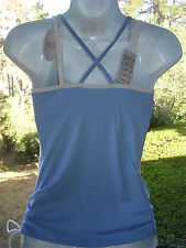 UNIQLO Bra Tank Top DRY Fabric Molded Cups Ruched Sides Blue Womens Medium NEW