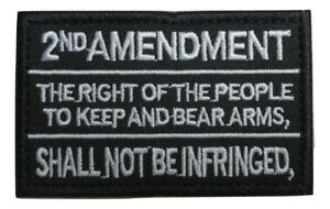 2nd Amendment Gun Rights Text Embroidered Hook and Loop Tactical Morale Patch