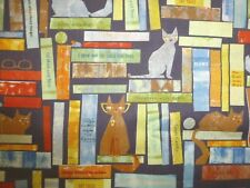 Cats Fabric Fat Quarter Cotton Craft Quilting Smarty Cats on the Book Shelf