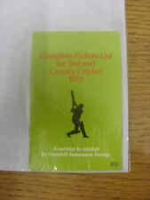 1978 Cricket: Complete Fixture List For Test And County Cricket, A Service To Cr