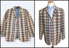 Vtg 60s BLEEDING INDIA MADRAS Cotton Jacket 40 S sack sport coat Blazer IVY Trad