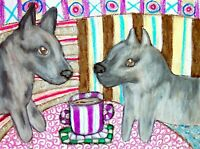 SWEDISH VALLHUND Drinking Coffee Dog Collectible 8 x 10 Signed Pop Art Print