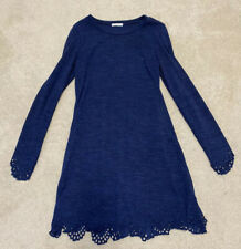 12pm by Mon Ami Navy Blue Dress with Eyelet Trim, Size Small