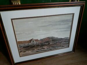 Vintage Watercolour Of Boats On Beach by Artist Jack Cannell 1968