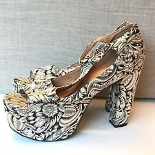 New Jeffrey Campbell Foxy Royal Urban Outfitters Brocade Platform Heels Size 10