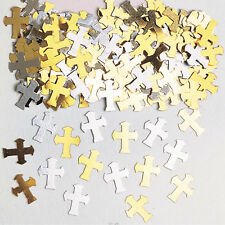 Gold/Silver Cross Holy Communion/Christening Table Confetti Decorations Boy Girl