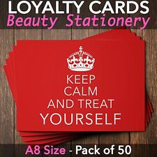 Loyalty Cards - Pack of 50 - massage nail beauty salons spa A8 mini