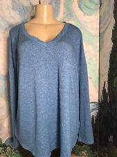 CALVIN KLEIN PLUS XXL BLUE SPACE-DYE V-NECK RAYON BLEND LONG SLEEVE TUNIC TOP